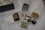3 Perfume, needles, buttons, soap,studs